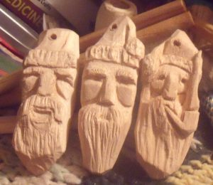 Simple Santas – Carved Basswood Christmas Tree Ornaments